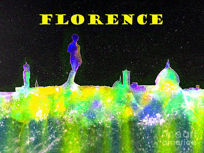 Florence Italy Skyline - Yellow Banner Poster