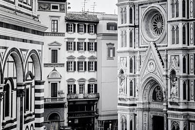 Poster featuring the photograph Florence Italy View Bw by Joan Carroll