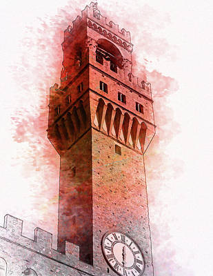 Florence Town Hall Tower - By Diana Van Poster by Diana Van
