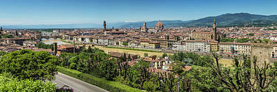 Florence View From Piazzale Michelangelo - Panoramic Poster by Melanie Viola