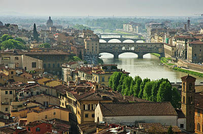 Florence. View Of Ponte Vecchio Over River Arno. Poster by Norberto Cuenca