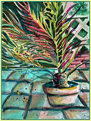 Poster featuring the painting Florescent Palm by Mindy Newman