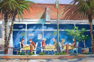 Poster featuring the painting Florida Dining Out by Tony Caviston