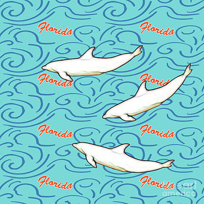 Florida Dolphin Print Poster by Methune Hively