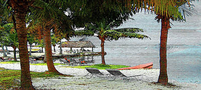 Florida Keys Beach On Wood Poster by Ken Figurski