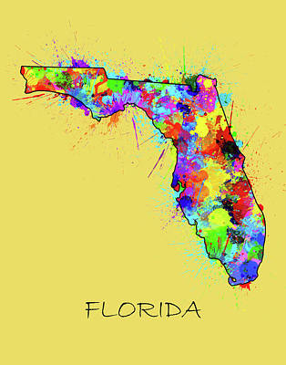 Florida Map Color Splatter 2 Poster