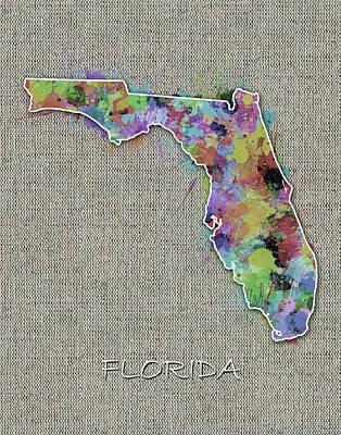 Florida Map Color Splatter 4 Poster