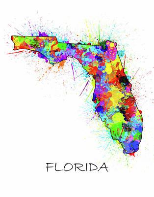 Florida Map Color Splatter  Poster