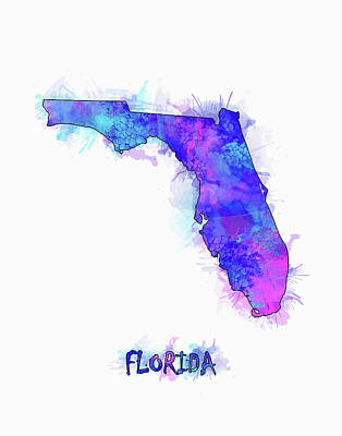 Florida Map Watercolor 2 Poster