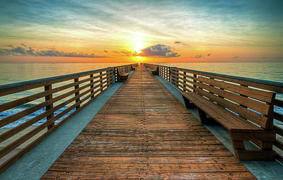 Florida Pier Sunrise Poster