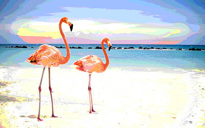 Florida Pink Flamingos Poster by Charles Shoup