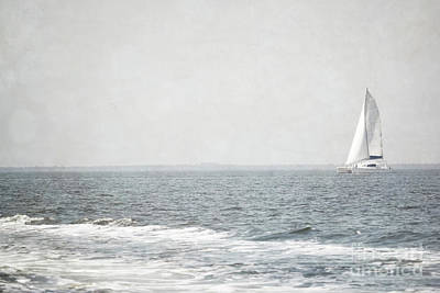 Florida Rustic Sailboat Ocean Landscape Poster by Andrea Hazel Ihlefeld