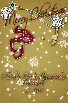 Florida State Seminoles Christmas Card 2 Poster by Joe Hamilton