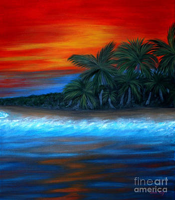 Poster featuring the painting Florida Sunset by Oksana Semenchenko