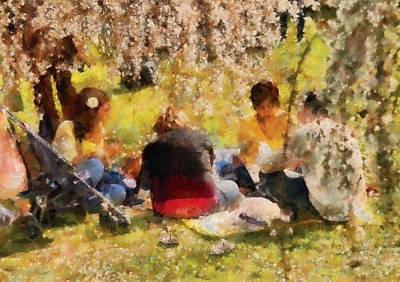 Flower - Sakura - Afternoon Picnic Poster by Mike Savad