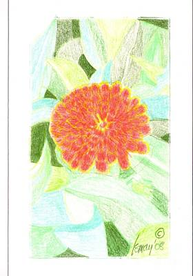 Poster featuring the drawing Flower 1 - Orange Red Zinnia by Rod Ismay