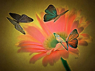 Flower And Butterflies Poster by Anthony Caruso