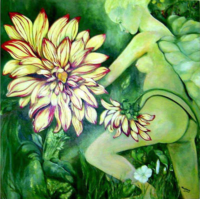 Poster featuring the painting Flower Faery by Nadine Dennis