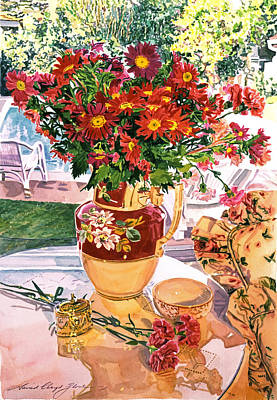 Flower Jug In The Window Poster by David Lloyd Glover