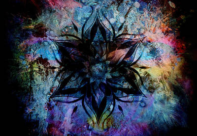Flower Mandala And  Color Abstract  Background. Poster by Jozef Klopacka