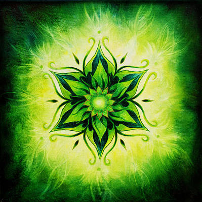 Flower Mandala On A Green Background Oil Painting Poster by Jozef Klopacka