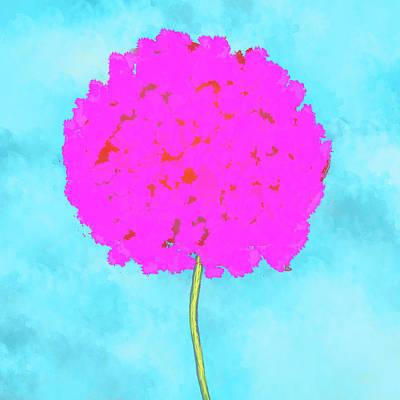 Flower On Blue Poster