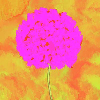 Flower On Orange Poster