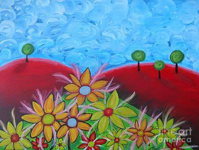 Flower On Red Hill Poster by Claudia Tuli