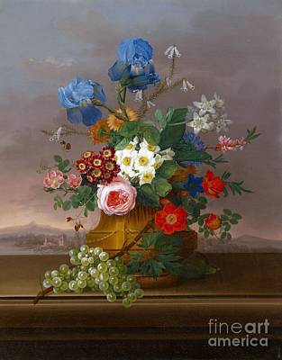 Flower Piece With Grapes Set Against A Landscape Poster by Celestial Images