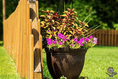 Flower Pot Near Fence Poster