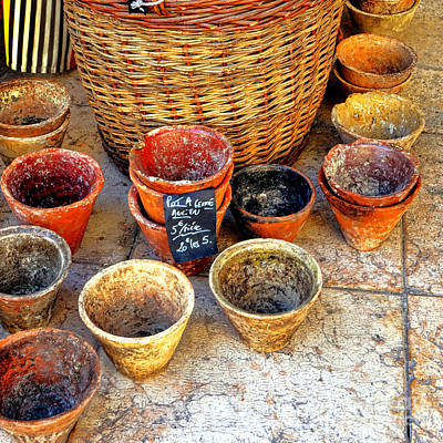 Poster featuring the photograph Flower Pots In Provence by Olivier Le Queinec