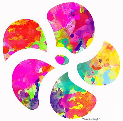Flower Power 1 - Digital Paint Poster by Debbie Portwood