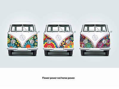 Flower Power Vw Poster by Mark Rogan