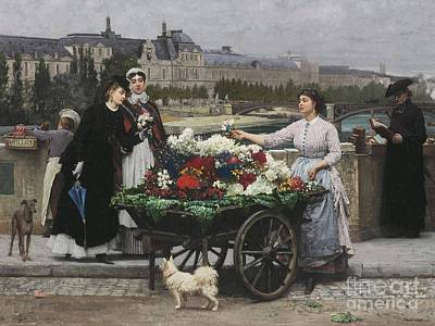 Flower Seller On The Pont Royal Poster by Celestial Images