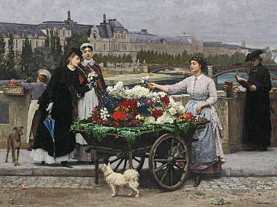 Flower Seller On The Pont Royal Poster by Marie-Francois Firmin-Girard