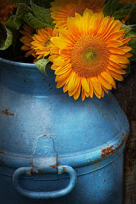 Flower - Sunflower - Little Blue Sunshine  Poster by Mike Savad