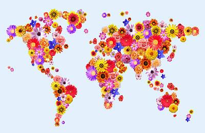 Flower World Map Poster