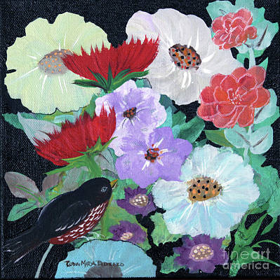Poster featuring the painting Floweret by Robin Maria Pedrero