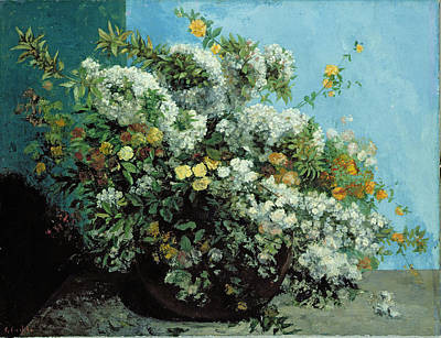 Flowering Branches And Flowers Poster by Gustave Courbet