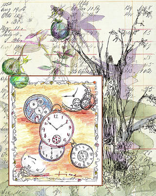 Poster featuring the drawing Flowers And Time by Cathie Richardson