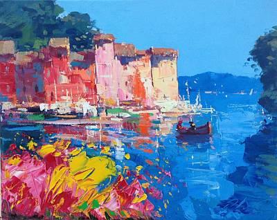 Flowers At Portofino Poster by Agostino Veroni
