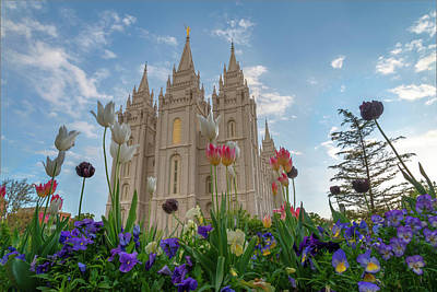 Flowers At Temple Square Poster