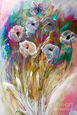 Flowers Behind The Fence Painting Poster by Lisa Kaiser