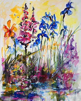 Poster featuring the painting Flowers By The Pond Blue Irises Foxglove by Ginette Callaway