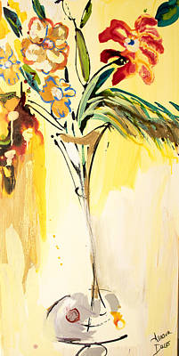 Flowers Flowing In Yellow Poster