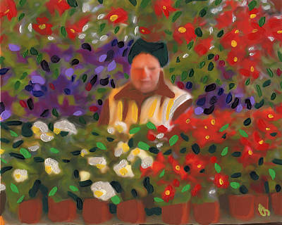 Poster featuring the painting Flowers For Sale by Deborah Boyd