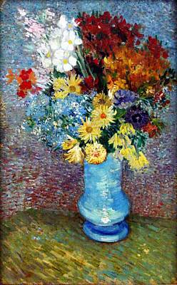 Poster featuring the painting Flowers In A Blue Vase  by Van Gogh