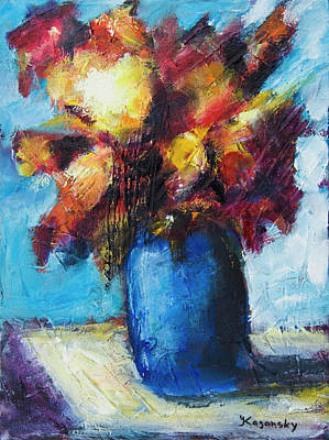 Poster featuring the painting Flowers In A Blue Vase. by Yulia Kazansky