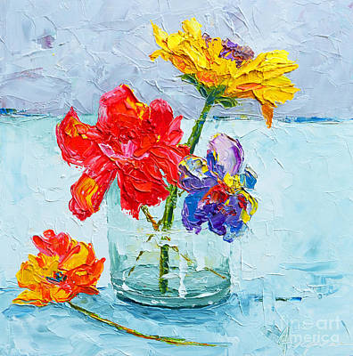 Flowers In A Glass Vase, Peonies And Daisies - Modern Impressionist Knife Palette Oil Painting Poster by Patricia Awapara