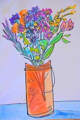 Flowers In An Orange Mason Jar Poster